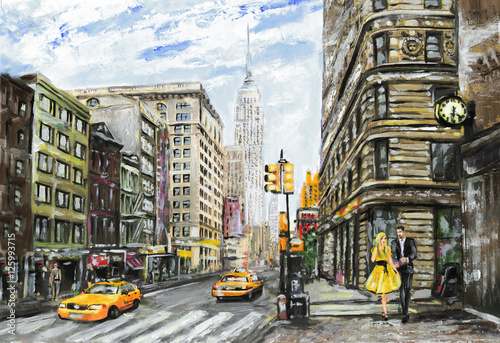 Fototapety, obrazy : oil painting on canvas, street view of New York, man and woman, yellow taxi,  modern Artwork,  American city, illustration New York