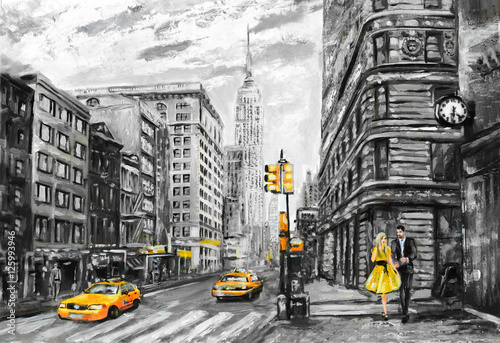 oil painting on canvas, street view of New York, man and woman, yellow taxi,  modern Artwork, New York in gray and yellow colors, American city, illustration New York - 125993946