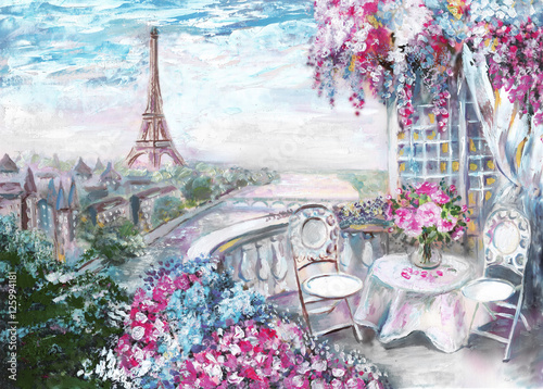 Fototapety, obrazy : Oil Painting, summer cafe in Paris. gentle city landscape. View from above