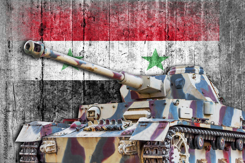 Poster Military tank with concrete Syria flag
