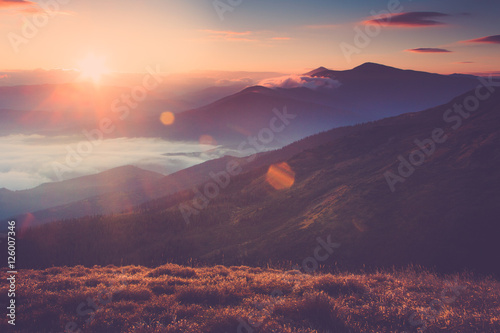 Beautiful landscape in the mountains at sunrise. View of foggy hills covered by forest. Filtered image:cross processed retro effect.