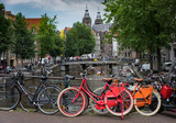 Liesdelsluis bridge in the Red Light area of Amsterdam with the Basilica of Saint Nicholas in the background