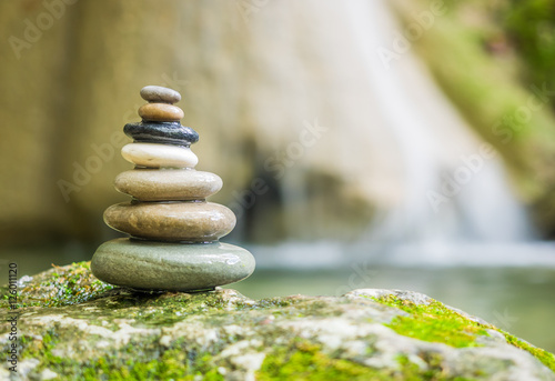 Rock Zen Stack in front of waterfall. - 126011120