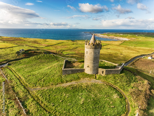 Poster Aerial Famous Irish Tourist Attraction In Doolin, County Clare, Ireland