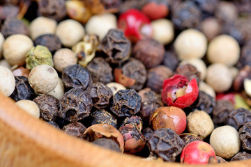 Bowl with colorful peppercorns