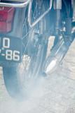Detalle tubo de escape moto vintage