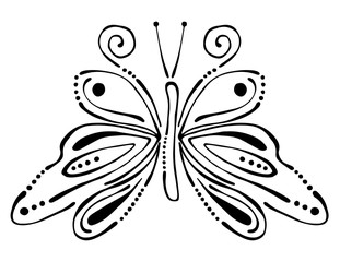 Vector black and white  illustration of insect. Butterfly isolated on the white background. Hand drawn contour lines and strokes. Decorative logo, icon, sign, tattoo. Graphic vector illustration.