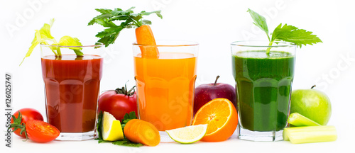 Foto op Plexiglas Verse groenten Healthy fruit and vegetable juices and smoothies
