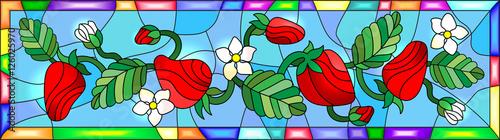 ilustracja-w-stylu-witrazu-z-kwiatow-jagod-i-lisci-truskawki-w-jasnej-ramie