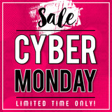 Cyber Monday sale banner on pink patterned background, vector