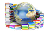E-learning concept, Books with Globe. 3D rendering