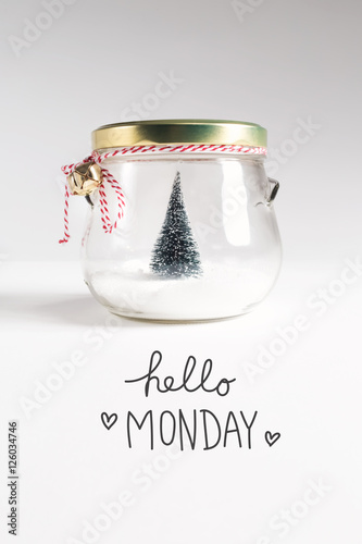Hello Monday message with Christmas tree