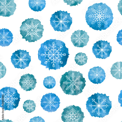 Materiał do szycia Snowflakes seamless pattern. White snowflakes on blue watercolor backgrounds. Vector illustration.