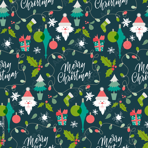 Materiał do szycia Christmas Holiday Background. Pattern with winter symbols