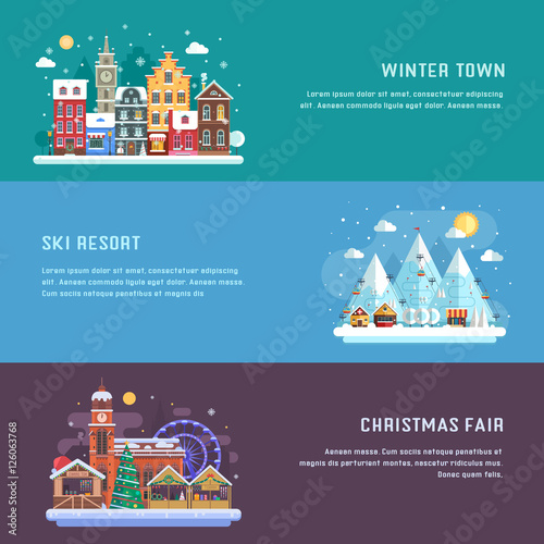 Poster Aubergine New Year banners with winter travel destinations. Europe snow town, Christmas market and alps mountain ski resort. Winter landscapes in flat design. New Year holidays and vacation concept backgrounds.