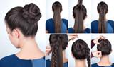 Hairstyle tutorial bun with plait
