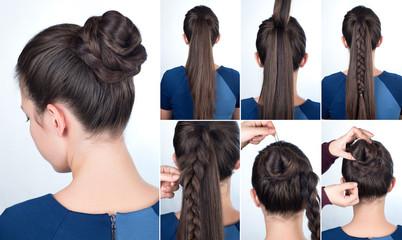 Hairstyle tutorial bun with plait © alter_photo