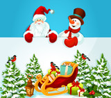Christmas card with Santa Claus, snowman and gift