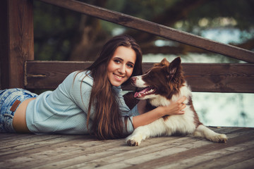 Portrait woman and dog