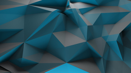 3d rendering triangular background. Spike and sharp forms. Deformation of triangulate surface. Abstract displacement fractured plane.