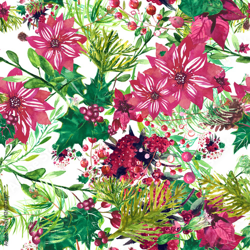 Materiał do szycia Boże Narodzenie botaniczny akwarela wzór