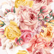 Rose pattern with vector realistic pink and beige roses for desi