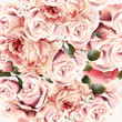 Rose pattern with vector realistic pink light roses for design