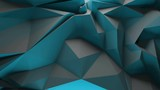 3d rendering triangular background. Spike and sharp forms. Deformation of triangulate surface. Abstract displacement fractured plane. Loopable sequence.