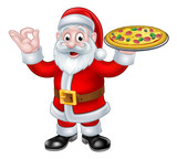 Santa Claus Pizza Christmas Cartoon Character