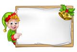 Fototapety Christmas Sign Santa Helper Elf