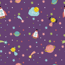 Space interstellar travels cartoon seamless pattern. Flying spaceship, cute alien girls with pigtails, colorful stars, comets, Saturn and earth planets vector illustrations on dark violet background