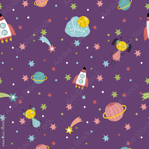 Cotton fabric Space interstellar travels cartoon seamless pattern. Flying spaceship, cute alien girls with pigtails, colorful stars, comets, Saturn and earth planets vector illustrations on dark violet background