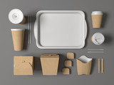 Fototapety Burger bar set craft paper blank design fast food cardboard tableware. Mockup template kraft cardboard cups coffee. Package wok box french fries potato chicken nugget. Gray background 3d illustration.
