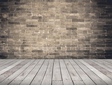 Empty Room perspective,grunge brick wall and wood plank floor, M - 126106933