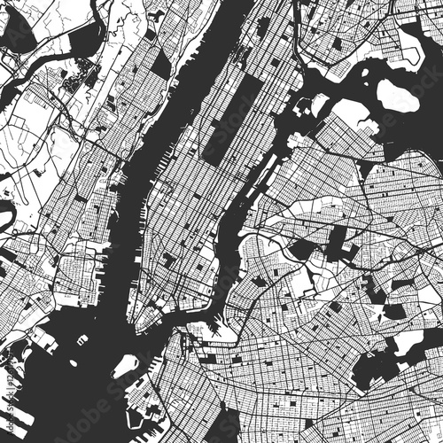 new-york-city-manhattan-one-color-map