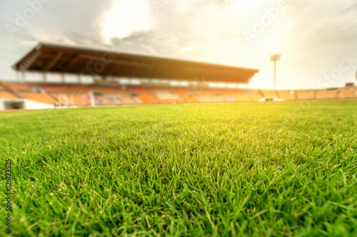 Green grass in soccer stadium with light flare. Poster