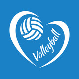 Vector illustration of volleyball heart on blue background for sports design.