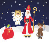 Cute St. Nicholas with devil and angel,Christmas invitation, card. Flat design, vector illustration, winter background