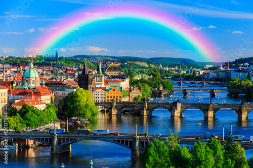 Rainbow Over Charles Bridge in Prague, Czech Republic in Spring