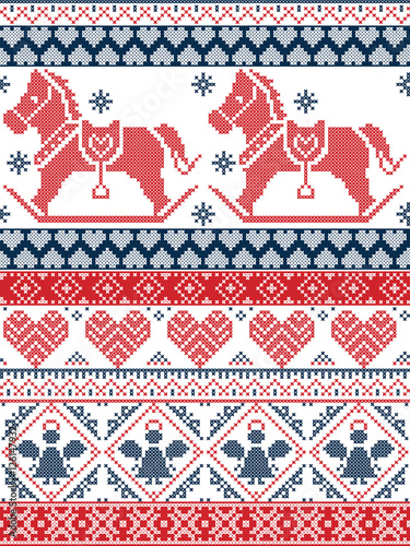 Cotton fabric Seamless Scandinavian Printed Textile style and inspired by Norwegian Christmas and festive winter seamless pattern in cross stitch with snowflakes, rocking horse, angel hearts, ornaments