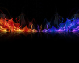 Fototapety red and blue flames on a black background