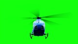 Blue helicopter animation. Realistic reflections, shadows and motion. Green screen 4k footage.