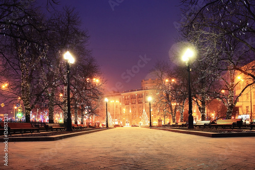 Papiers peints Aubergine Night winter landscape in amazing city