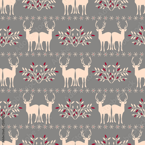 Materiał do szycia Vector seamless  Christmas pattern with deer.