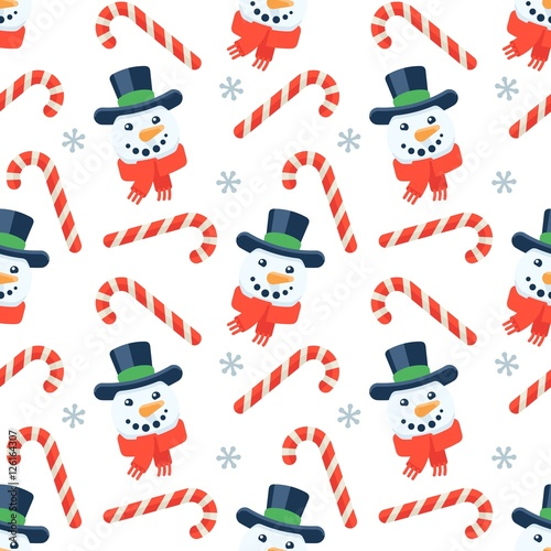 Materiał do szycia Seamless flat Christmas pattern of candy cane and snowman
