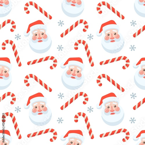 Materiał do szycia Seamless flat Christmas pattern of candy cane and Santa Claus
