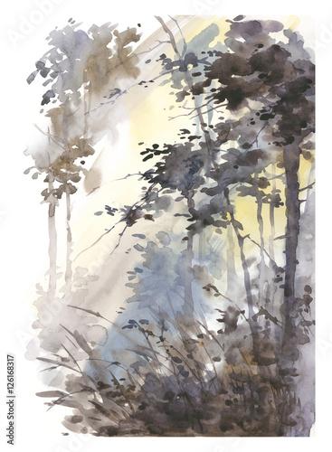 akwarele-recznie-malowane-abstrakcyjny-krajobraz-gleboki-las