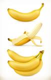 Fototapety Banana. Sweet fruit. 3d vector icons set. Realistic illustration