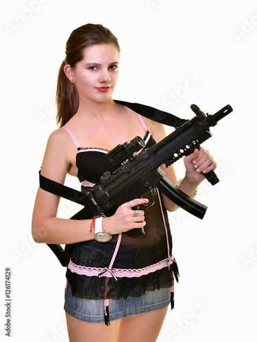 Poster woman with gun