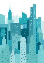 Panoráma geometrické vektorové ilustrace. CityLine. městskou krajinu
